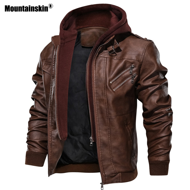 Mountainskin New Men's Leather Jackets Autumn Casual Motorcycle PU Jacket Biker Leather Coats Brand Clothing EU Size SA722 3