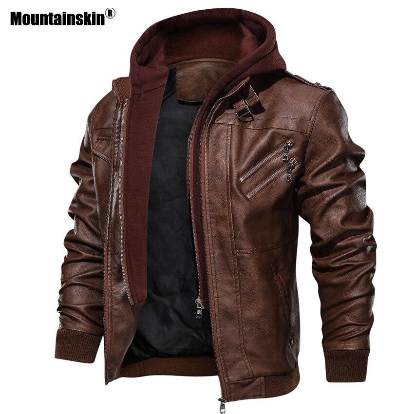 Alpinskin 2019 nouveaux hommes vestes en cuir automne décontracté moto veste en cuir synthétique polyuréthane Biker manteaux en cuir marque vêtements EU taille SA722 - 3