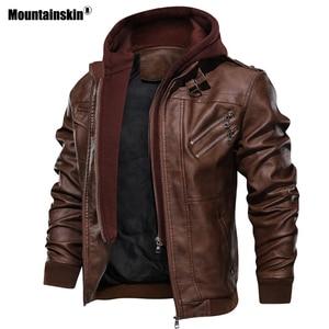 Image 3 - Mountainskin חדש גברים של מעילי עור סתיו מזדמן אופנוע PU מעיל עור אופנוען מעילי מותג בגדים האיחוד האירופי גודל SA722