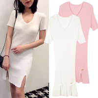 New spread out the fork cultivate morality under the deep v neck knit dress pure color thin ice silk dress is female
