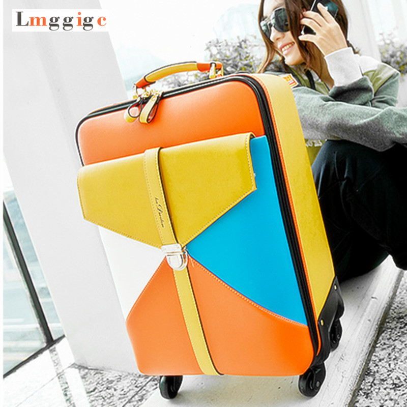 Girl's Rolling Luggage bag,Colorful Travel Suitcase,High quality PU Box with Wheel,Women Trolley Case Valise,Rolling Carry-On rolling luggage cabin bag 18 inch suitcase with wheel pu trolley case with lock colorful carry on travel box with laptop bag