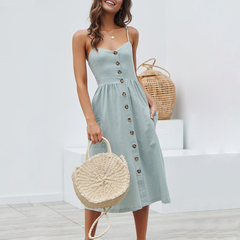 Women Summer Dress 2019 Boho Sexy Spaghetti Straps Floral Beach Dress With Pocket Midi Button Backless Women Summer Dress 2019 Boho Sexy Spaghetti Straps Floral Beach Dress With Pocket Midi Button Backless Sundress Female Vestidos