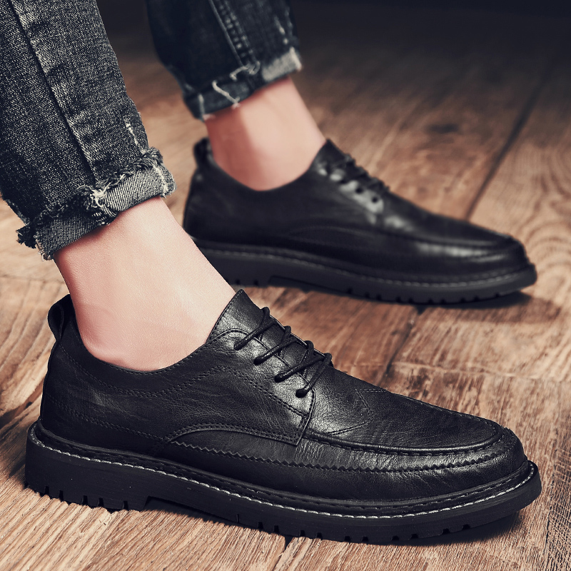 Fashion Men Casual Shoes Black Men's Genuine Leather Casual Sneakers Fashion Flats Shoes Lace Up Male Tenis Shoes Krasovki J3