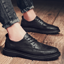 fashion men casual shoes Black Men's genuine leather casual Sneakers fashion flats shoes lace up male tenis shoes krasovki j3 недорого