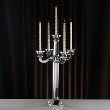 Geometric Candle Holders Glass Moroccan decor Demountable 60cm 5 arms Crystal Candelabra Stand Table Centerpieces Decoration
