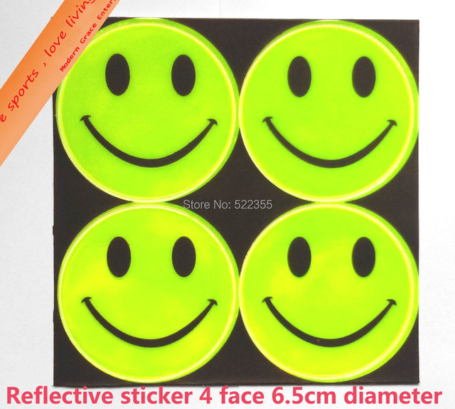 Wholesale 50 page/lot,9 models, 6.50CM Reflective safety sticker smile face for motorcycle,bicycle,kids toy for visible safety