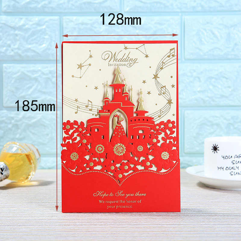 1pcs Sample Laser Cut Castle Wedding Invitations Card Stamping Business Greeting Card Customize Birthday Wedding Party Supplies