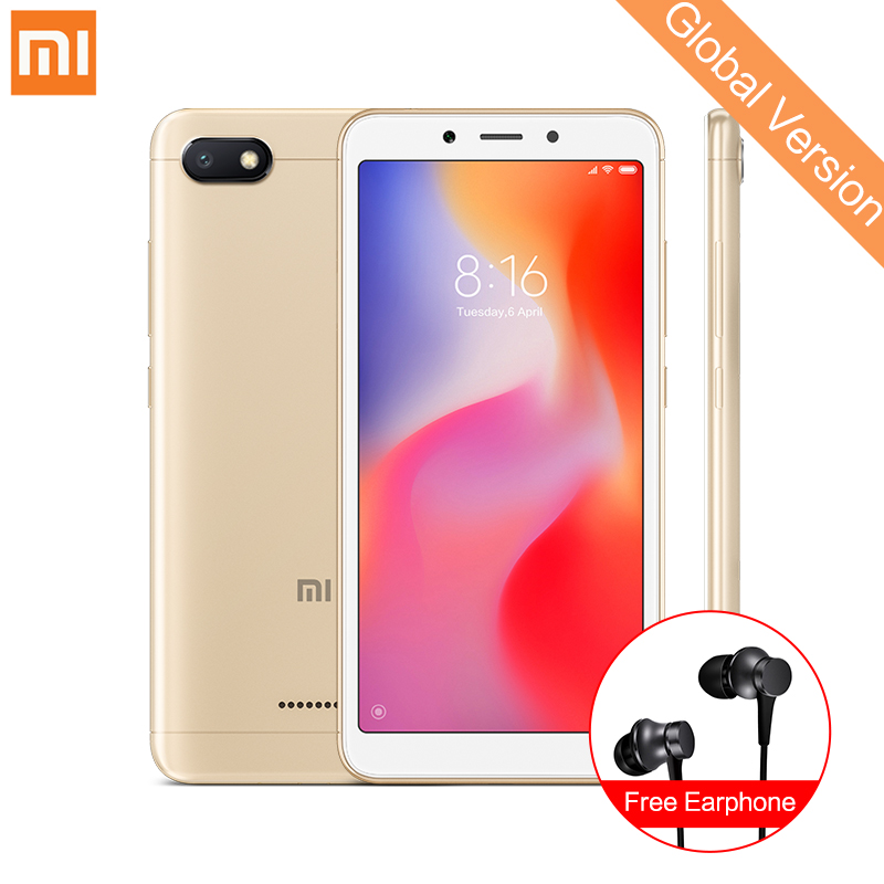 Global Version Xiaomi Redmi 6A 2GB 32GB Smartphone 5.45'' Full Screen Android 8.1 Helio A22 Quad Core 13MP Camera