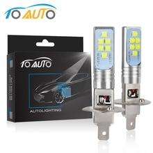 2 шт. H1 H3 светодиодный лампы светильника света автомобиля 12 V 6000 K белый 1400LM дальнего автоматические светодиодные лампы