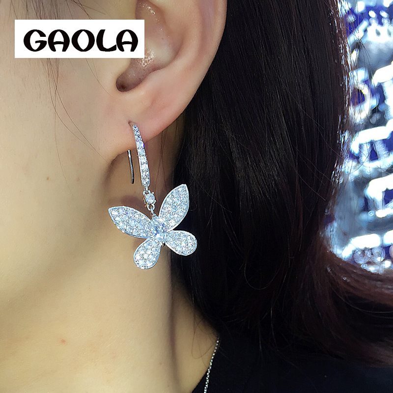 GAOLA Lovely Butterfly Dangle Earrings Water Drop Zircon Party Gift Rhodium Plated Micro Pave Setting Earring GLE6596