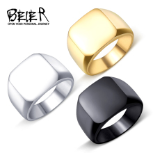 Beier new store 316L Stainless Steel ring top quality High Polished Signet Solid Biker Ring for men fashion Jewelry BR8-177