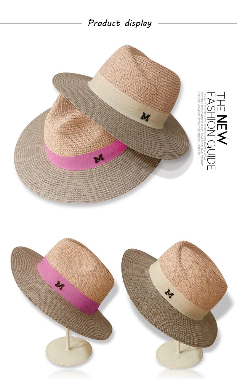 5e7731d567f96 GGOMU venda Quente de verão chapéus de sol para as mulheres letra M aba  larga chapéu de palha das senhoras praia férias meninas chapéu panamá  ZLH-015.