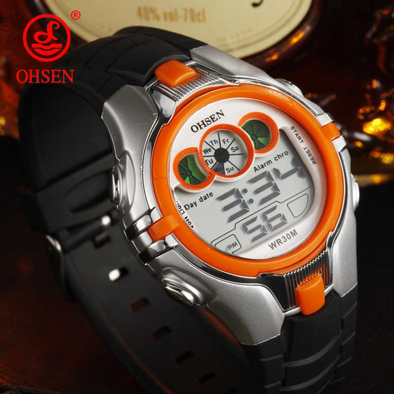 OHSEN Electronic Colorful LED Rainbow Digital Watches Kids Wrist Watch Children Boys Girls Wristwatches Sports Children's Watch
