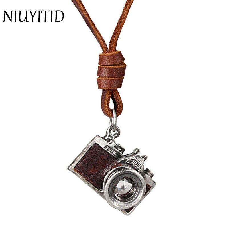 Niuyitid Для мужчин кожаный кулон Цепочки и ожерелья для Винтаж панк Камера модные длинные Пояса из натуральной кожи цепи Цепочки и ожерелья му... ...