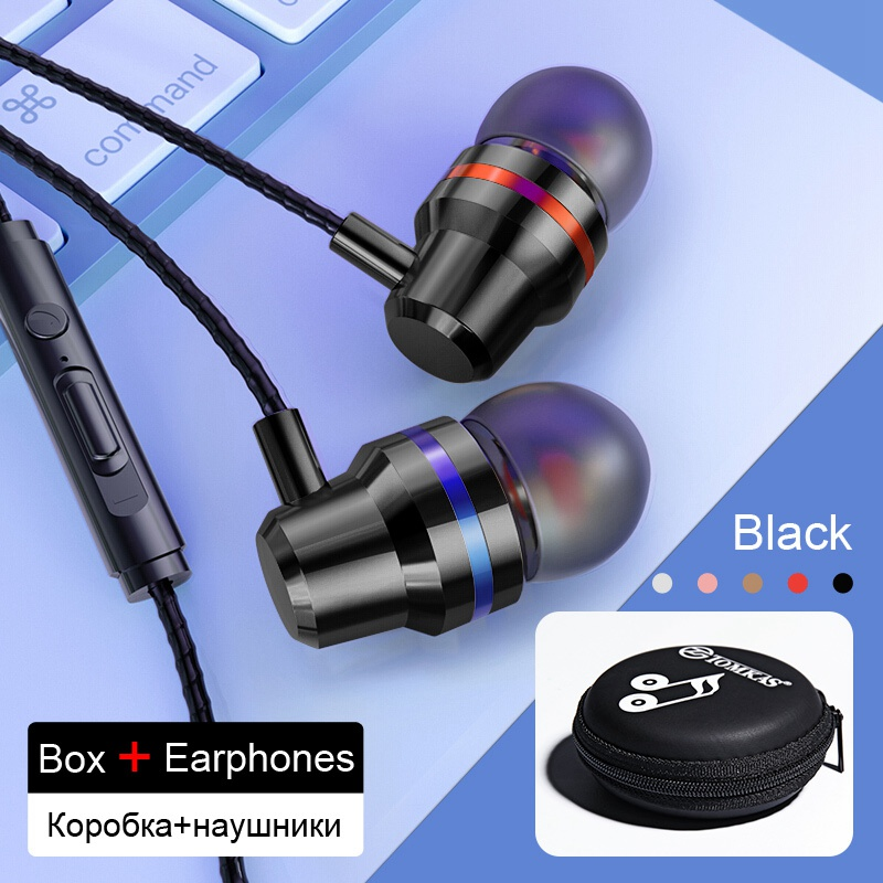 TOMKAS Wired Earbuds Headphones 3.5mm In Ear Earphone Earpiece With Mic Stereo Headset 5 Color For Samsung Xiaomi Phone Computer 21