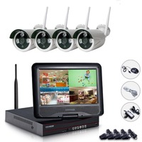 Plug Play 4CH NVR WIFI CCTV System 4PCS 720P Wireless CCTV Kit With 10 Inch Monitor
