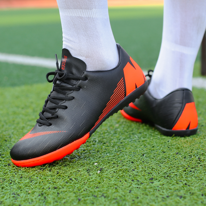 196e5fc0c13 Indoor Soccer Shoes for Boys Kids Football Boots Men Futsal High Top Soccer  Cleats
