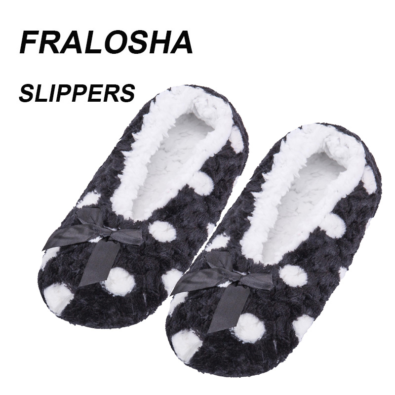 (Ship from US) FRALOSHA Warm Home woman Cotton Shoes Plush Female Floor Shoes Non-slip Indoor Bow tie dots Shoes Home Slipper stylish small dots and twill pattern bow tie for men