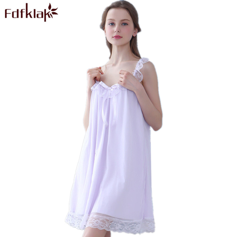 Fdfklak Summer Modal Sleeveless Women Sexy Underwear Night Shirts Nightgowns Sleepshirts Black/White Sleepwear Nightgown Q674
