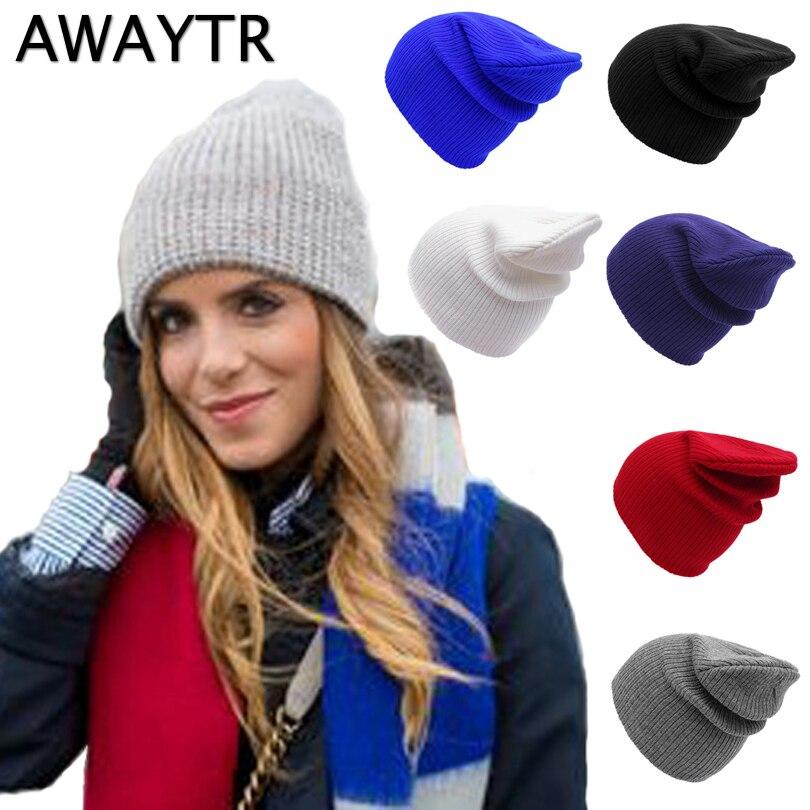 AWAYTR Fashion Unisex Winter Hat Men Women Warm   Skullies   &   Beanies   Men'S Winter Caps Hat Knitted Hats Female Winter Solid Cap