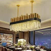 Restaurant Square Crystal Lamp Post Modern lighting Creative Villa Living Room parlor Bronze LED Chandelier cristal lustre light