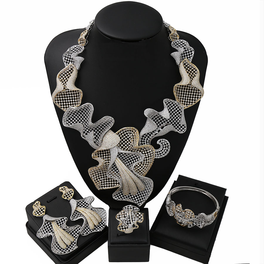 TSROUND Luxury Grape Bloom Cubic Zirconia Dubai Jewelry Set for Woman African Bridal Jewelry Sets