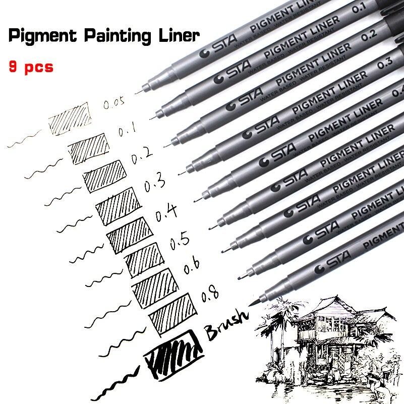 9 teile/los STA Wasserbasis Pinsel Marker 9 Größen Pigment Liner Dreieckige Fineliner Stifte für Kunst Schule Liefert