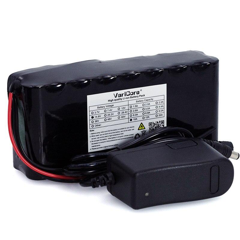 VariCore 14.8 v 10Ah 18650 li-ion batterie pack nuit de pêche lampe chauffe-lampe de mineur amplificateur batterie avec BMS + 16.8 v Chargeur