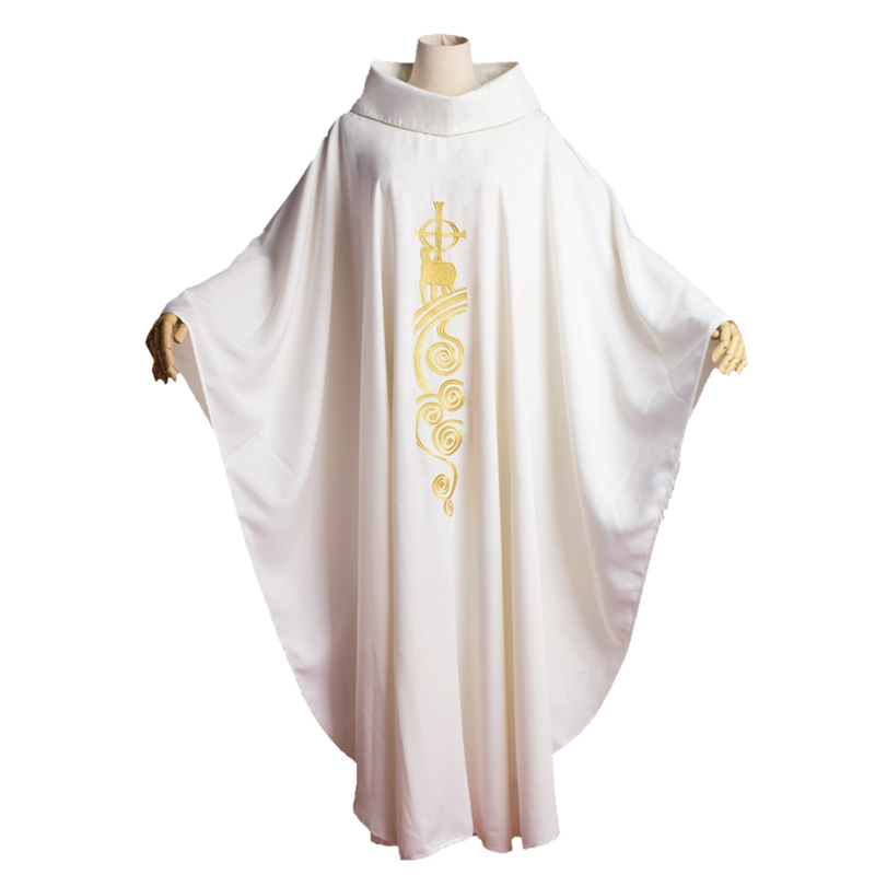 Monastic Chasuble Catholic White Church Lamb Embroidered Priest Vestments