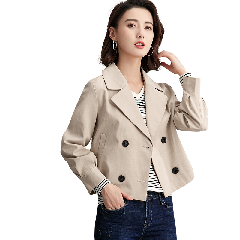Fashion Suit Collar Short Double Breasted   Trench   Coat For Women 2019 New Arrival Spring Women's Windbreaker Basic Coats Outwear