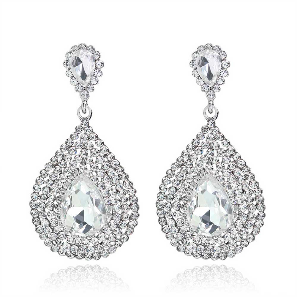 The new luxury brilliant Rhinestone Vintage Pendant Drop Earrings Gift bride wedding party women gifts jewelry