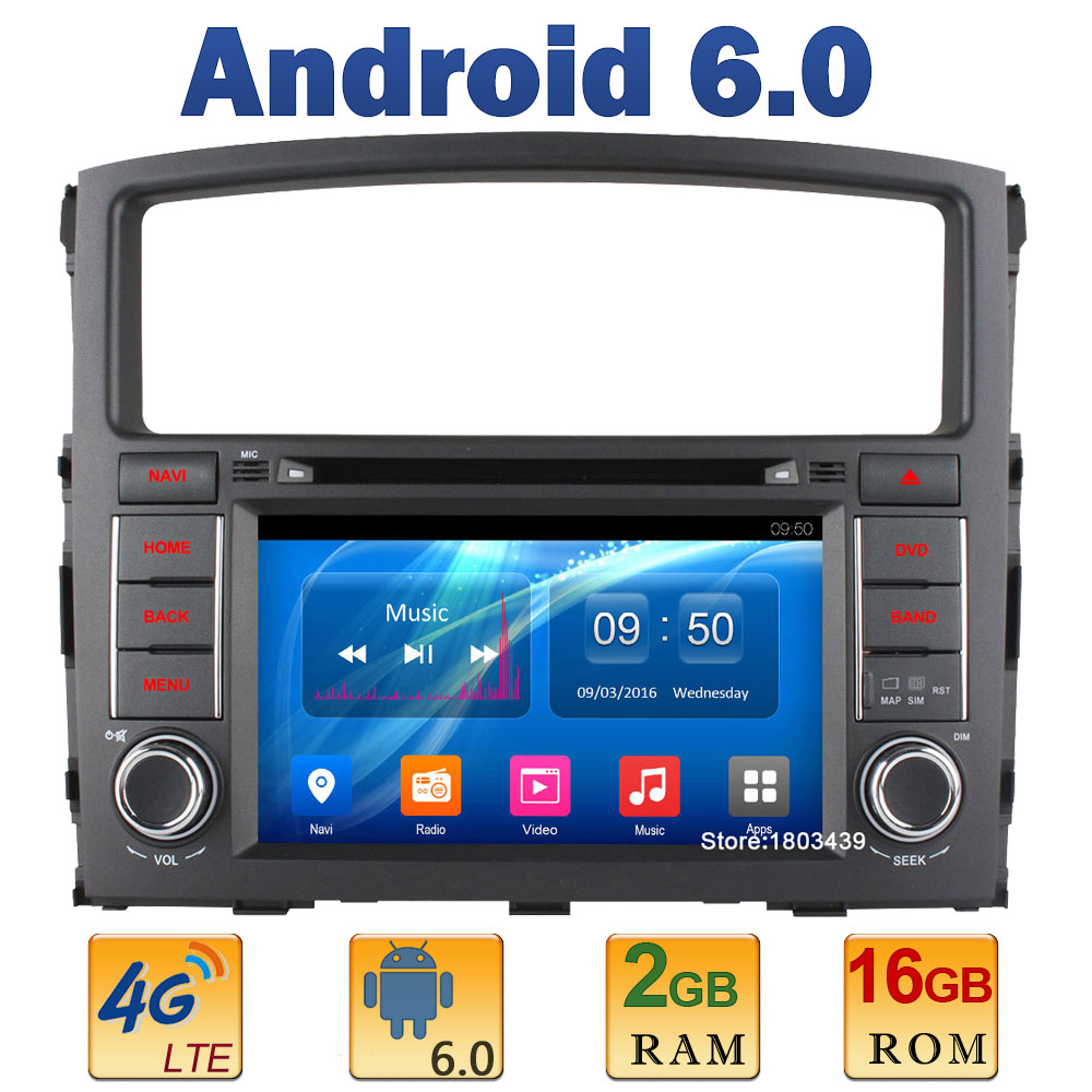 7″ Quad Core 2GB RAM 4G LTE SIM WIFI Android 6.0 Car DVD Player Radio Stereo For Mitsubishi Pajero V93 V97 2006-2013 2014 2015