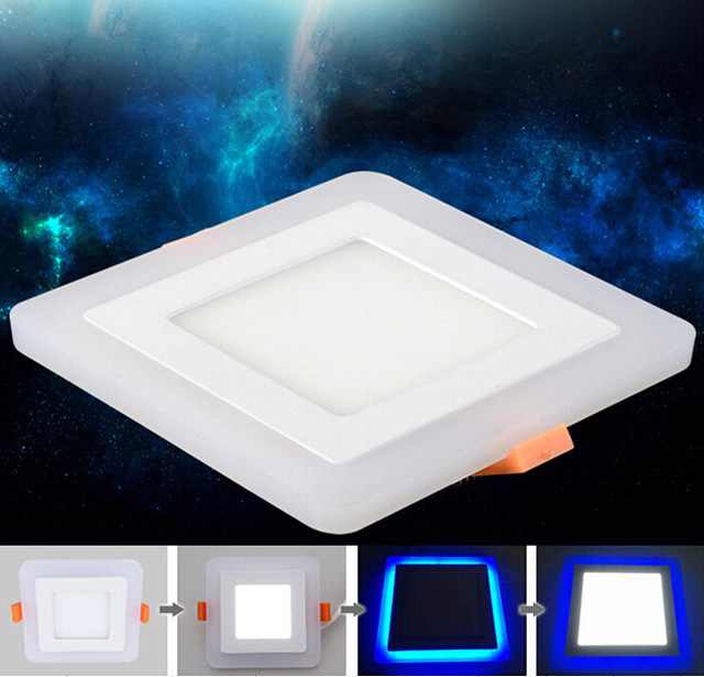 3 Model Square blue+white double color Led Panel Light 6w/9w/16w/24W AC85-265V Recessed LED Ceiling downlight down lights tl19d24x1w 24w led driver white blue 85 265v