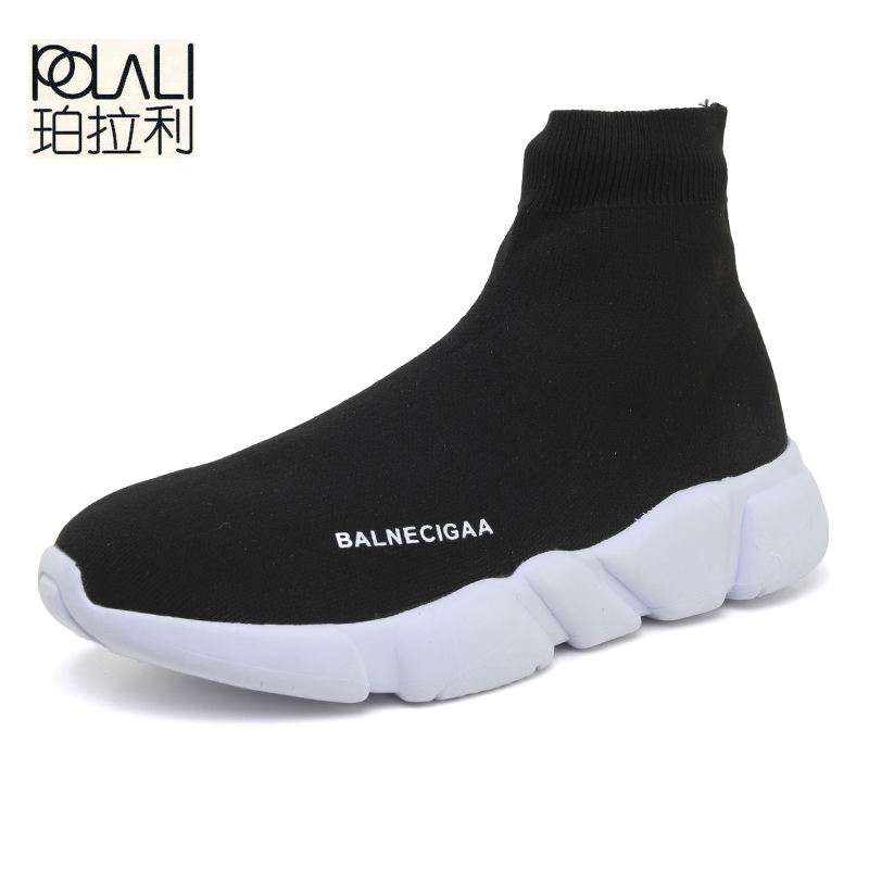 POLALI Women Shoes Fashion Luxury Stretch Fabric High Top Slip On Socks Shoes Ankle Knitted Flat Casual Brand Shoes Zapatos