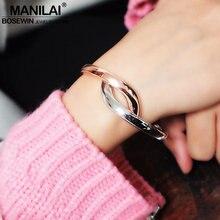 MANILAI Legierung Armreifen Armbänder Frauen Charme Glatte Geometrie Linear Erklärung Cuff Armreifen Modeschmuck Gold mix Silber Farbe