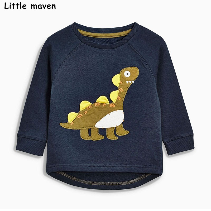 Little maven baby boys clothes 2017 autumn children cotton long sleeve cloth dinosaur thick t shirt C0042