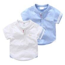 Kids Birthday Gift Clothes 2020 Summer Fashion Cotton White Blue Color Cartoon Dog Print Short Sleeve Mandarin Collar Boys Shirt