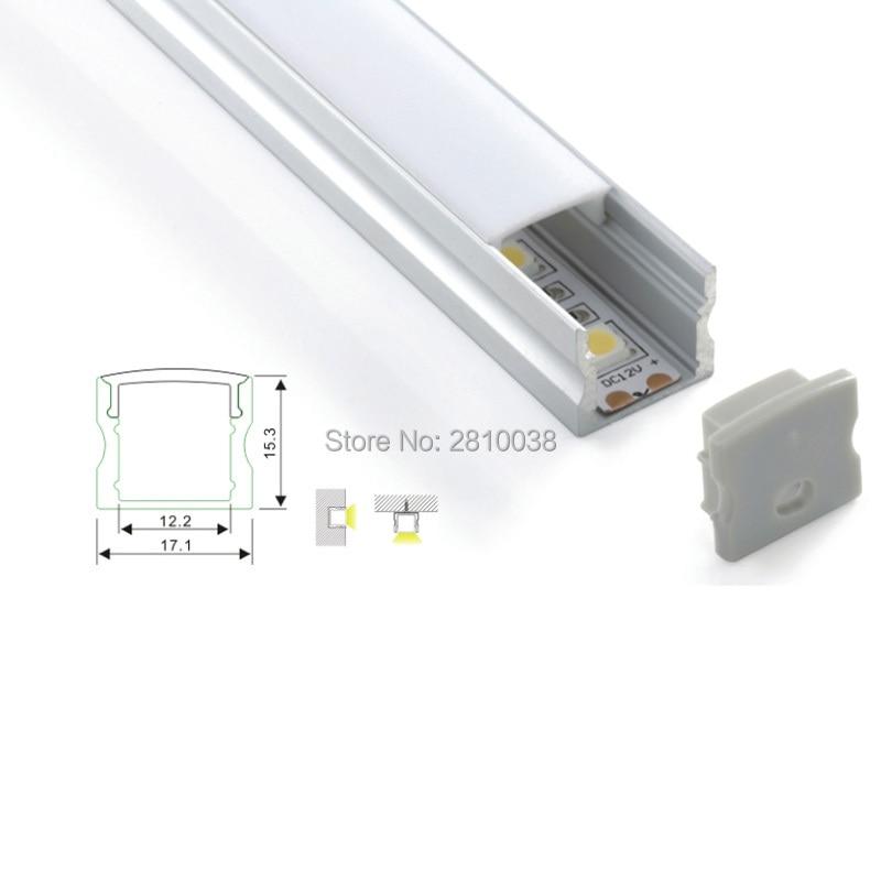 100 x 1M komplekti / partija U forma Virsmas montāžas vadīts alumīnija profila kanāls sienas vai grīdas apgaismojumam