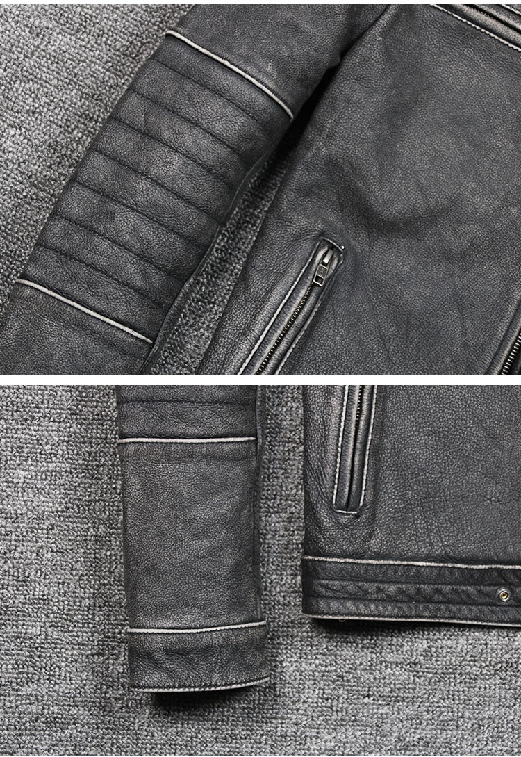 HTB1ewvXd77mBKNjSZFyq6zydFXaW Free shipping plus motor Brand style Vintage men's quality genuine leather Jackets slim 100% natural cowhide jacket.leather coat