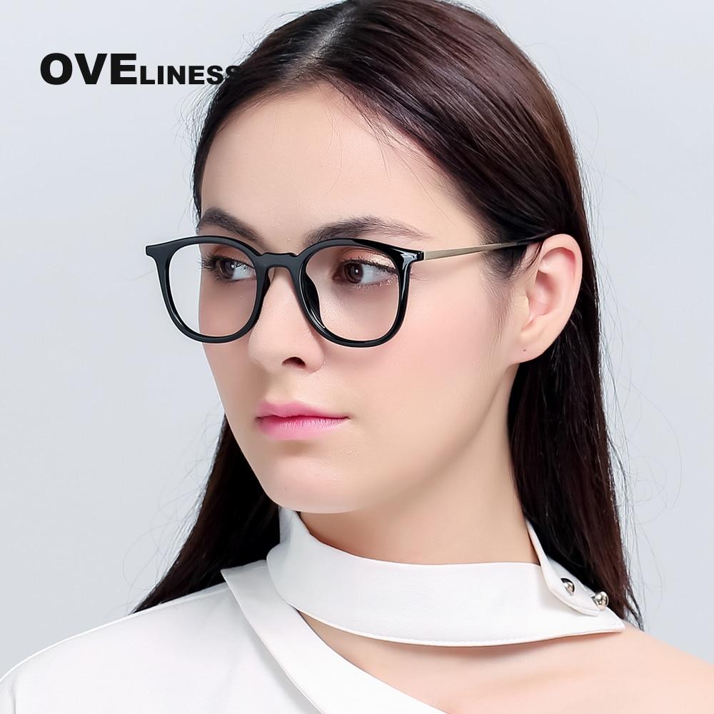 TR90 Brillenfassungen Frauen Optische Retro-Rundbrillen Clear Lens Lesebrillen Rahmen Männer Myopie verschreibungspflichtige Brillen 51075