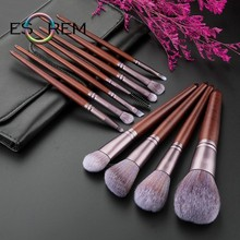 ESOREM 11 Pcs Soft Makeup Brushes With Bag Plain Wood Handle Eye Brush Shader Buffing Pinceaux Maquillage 062603