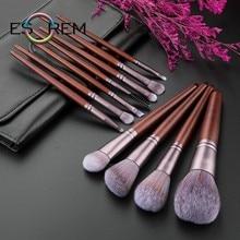 ESOREM 11 Pcs Soft Makeup Brushes With Bag Plain Wood Handle Eye Makeup Brush Shader Buffing Brush Pinceaux Maquillage 062603 eye print makeup bag with wristlet