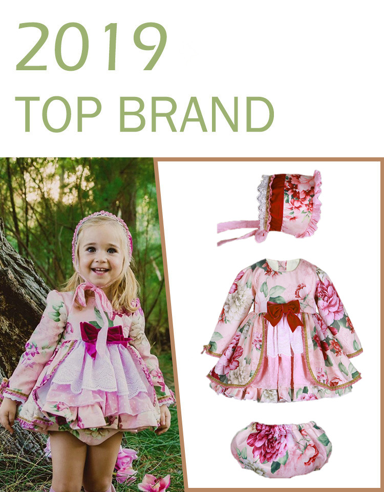 ca14c6d49b435 Baby Frocks Girl Long Sleeve Floral Dress Wedding Party Dresses Kids  Spanish Boutique Clothes Children's Wedding Birthday Gowns