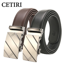 CETIRI New Designer Automatic Buckle Belt Cowhide Leather Men Belt High Quality Black Brown 110cm-130cm Luxury Belts For Men