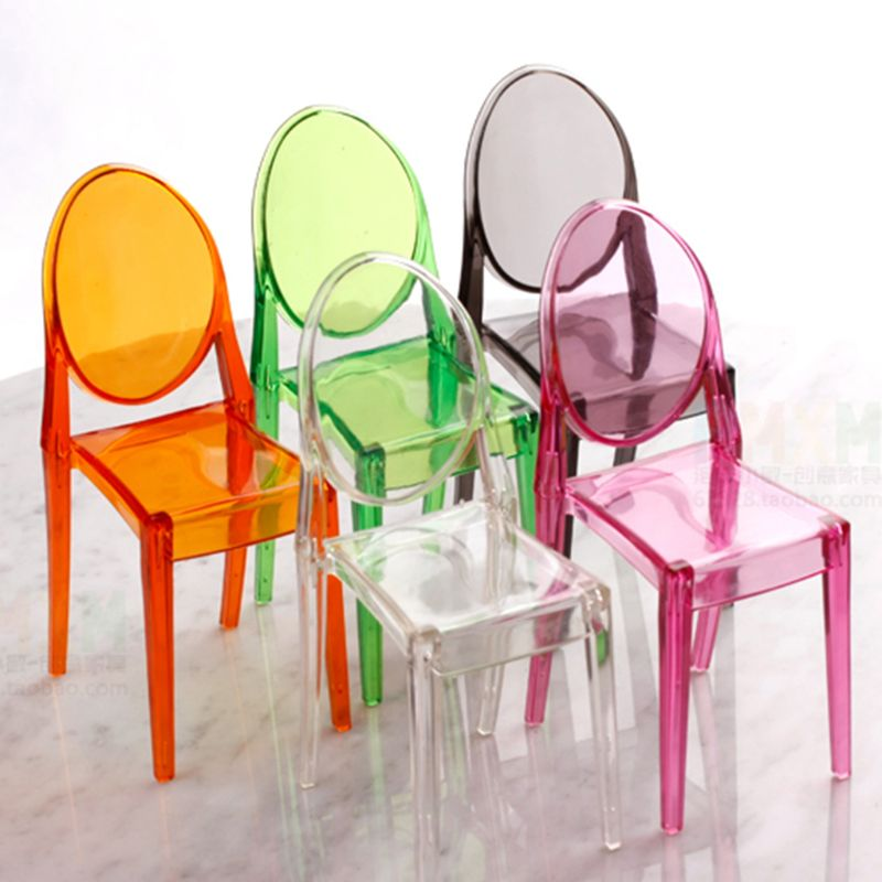 1:6 Dollhouse Miniature Accessories Mini Doll House Clear Transparent Plastic Chair Furniture Decor Collection Gift