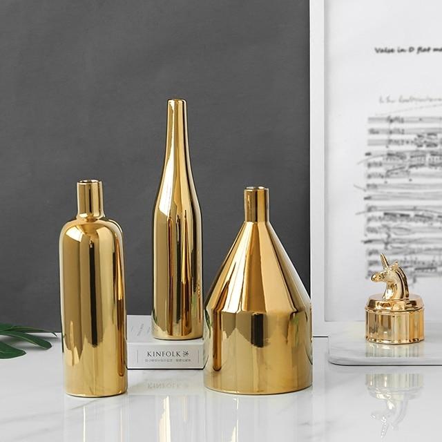 1pc Modern Gold Plated Vase Ceramic Flower Vase Golden Water Planting Container Desktop Decorative Vase  3