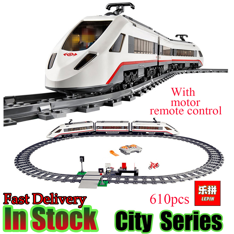 Lepin 02010 Creator Technic High-speed Passenger Train Remote-control Trucks Set Building Blocks Bricks figures Toys For 60051 lepin 02010 610pcs city series building blocks rc high speed passenger train education bricks toys for children christmas gifts