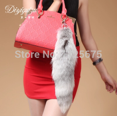 New Fashion Real fox Tail Car keychain ring bag pendant Rhinestone fur tail Luxury fashion Charm gift  Large tail The