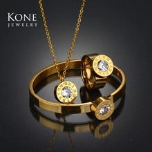 Роскошные римские цифры сменный комплект ювелирных изделий CZ Кристалл Золото Цвет Нержавеющая сталь Цепочки и ожерелья кольцо для Для женщин подарок