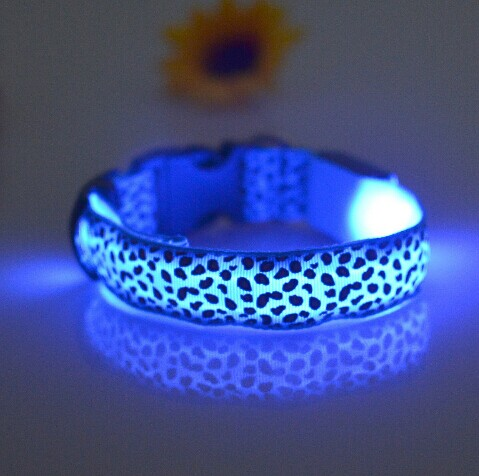Leopard Nylon Pet Dog Cat Collar Night Safety LED Light-up Flashing Glow Lighted Dog Collars Size S M L